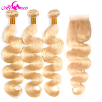 Ali coco Brazilian Body Wave #613 Blonde Lace Closure with 3 Bundles 100% Human Hair Weaving 613 Bundles with Closure