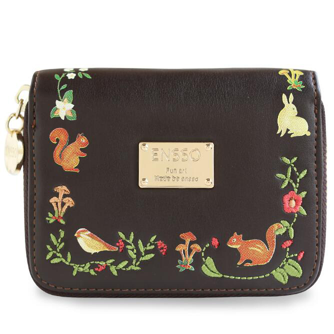 ENSSO Squirrel Bird Black Floral Lock Card Lady Animal Prints Embroidery Leather PU Women's Day Clutches  Envelope Wallet Purses