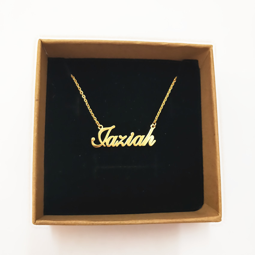 314L Stainless Steel Gold Personalized Custom Name Pendant Necklace Customized Cursive Nameplate Handmade Birthday Gift