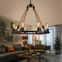 American Rustic Style Handmade Pendant Lamp With E27 Lamp Holders Hanging Rope Pestaurant Room Lamp Vintage Rope Lamps 8 light american style resturant pendant lamp vintage glass candle pendant lamp clothes store living room hotel lamps