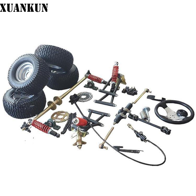 XUANKUN DIY Four-Wheel Electric Motorcycle Drift Karting Aaccessories Modified Front Rear Axle Steering System 6-Inch Round xuankun modified four wheel electric motorcycle self made karting accessories front suspension rocker steering brake system