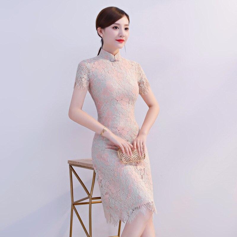 Chinois Cheongsam Fleur Qipao Mandarin Xxxl Mince 8163 Court Nouvelle Arrivée Taille Femelle Imprimé Sexy Dentelle Robes Traditionnelles Col PkXZulwiOT