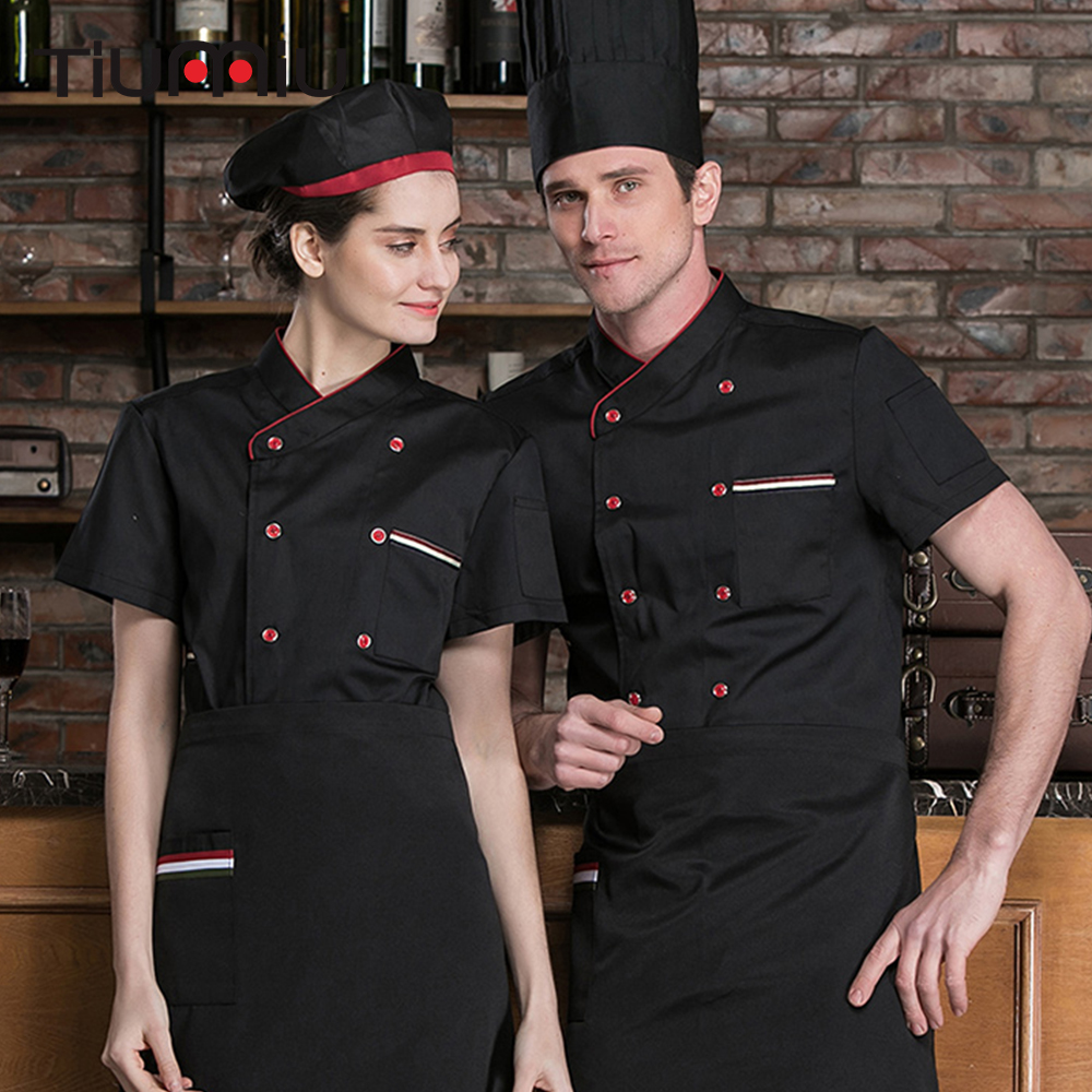 Chef Jacket Food Service Short Sleeves Double-breasted Cuisine Cook Workwear Shirt Breathable Kitchen Restaurant Uniforms M-3XL