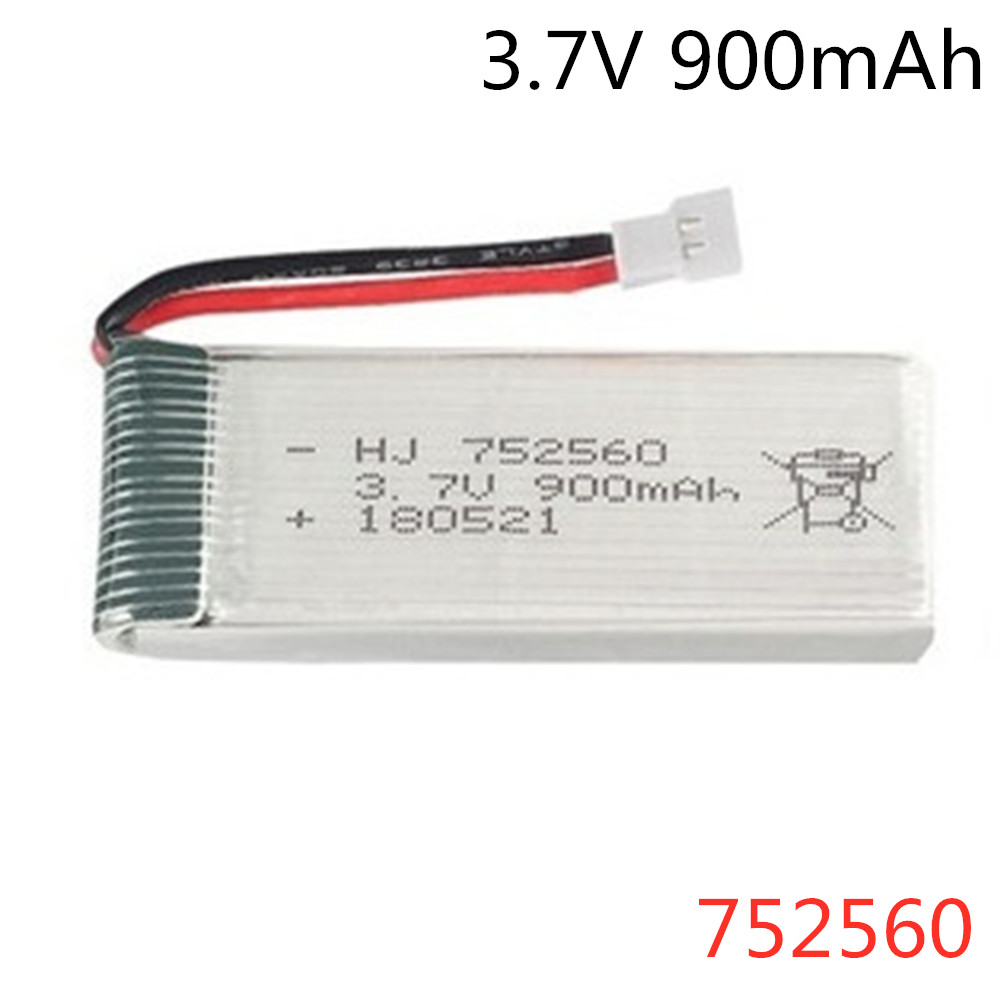 <font><b>752560</b></font> lipo Battery 3.7V 900mAh For X5 X5C X5SC X5SW 8807 8807W A6 A6W Rc Quadcopter Spare Parts Accessories 3.7v Drones Battery image