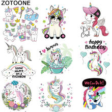 ZOTOONECartoon Unicorn stamping patch T-shirt jacket printing sticker DIY heat transfer vinyl children's clothes ironing sticker(China)