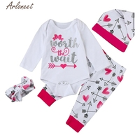 2017 FASHION Newborn Baby Boy Girl Letter Print Tops+Pant+Cap+Hairband Outfits Clothes Set Y1030