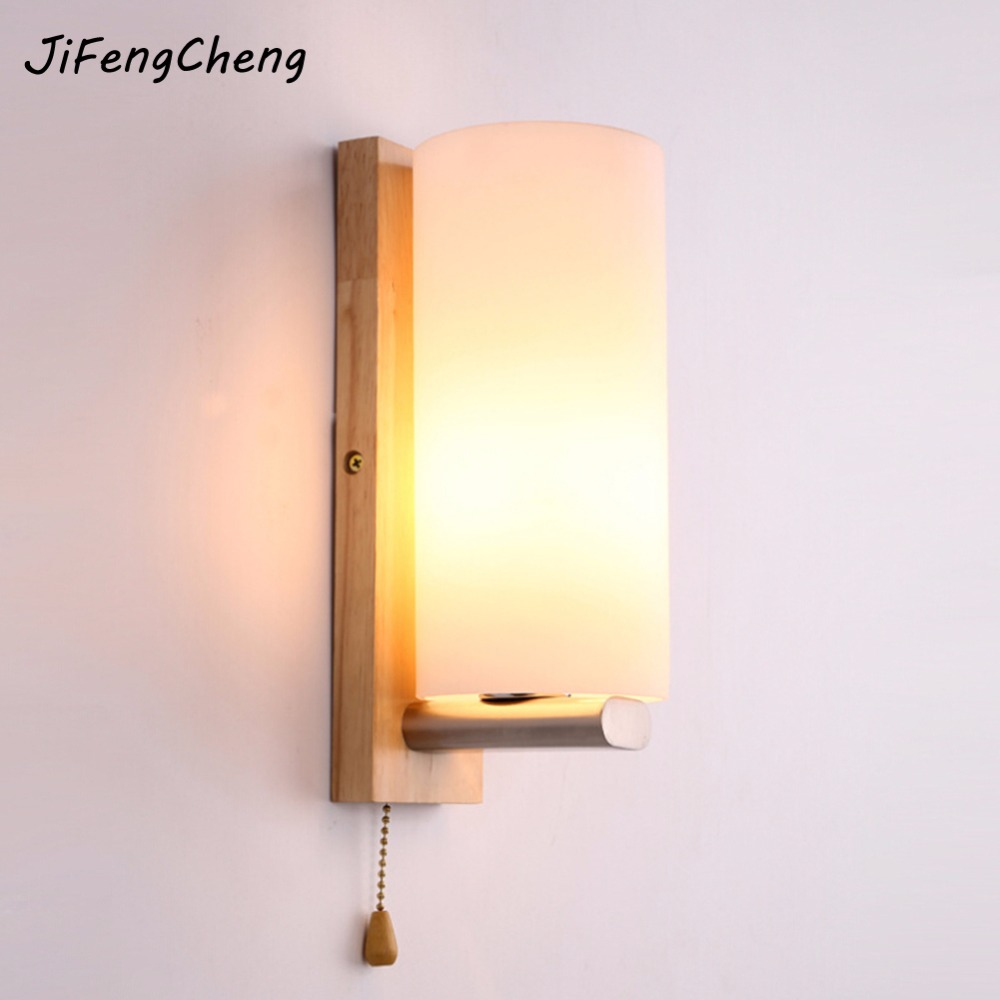 JiFengCheng Nordic modern bedside wall lamp simple creative solid wood wall lamp LED bedroom living room hall hotel wall lamp fashion nordic living room bedside wall lamp porch balcony porch light solid wood creative light simple black and white