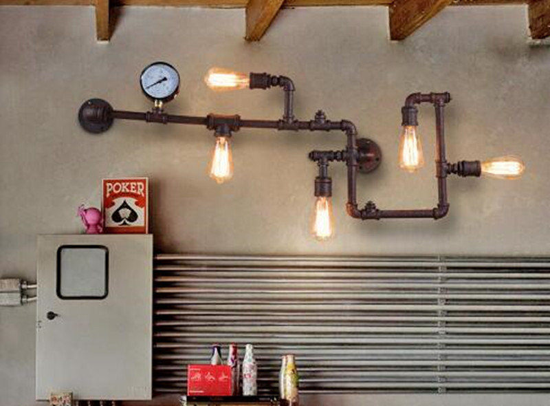 Modern home decoeation black brown color loft water pipe wall font b light b font vintage