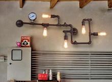 Moderna casa decoeation negro/brown color de loft dormitorio pared de la tubería de agua tubería de hierro de la vendimia de luz barra de luz libre gratis