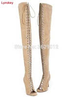 Lynskey Sexy High Heels Gladiator Shoes Woman Peep Toe Lace Up Thigh High Boots Summer Cut