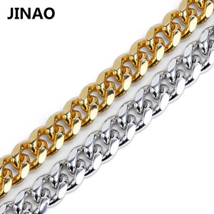 Image 3 - JINAO Gold Cuban Link Chain Necklace Hip Hop Miami Iced Out Cuba Chain with Cubic Zirconia n Jewelry Buckle Best Gift for Men