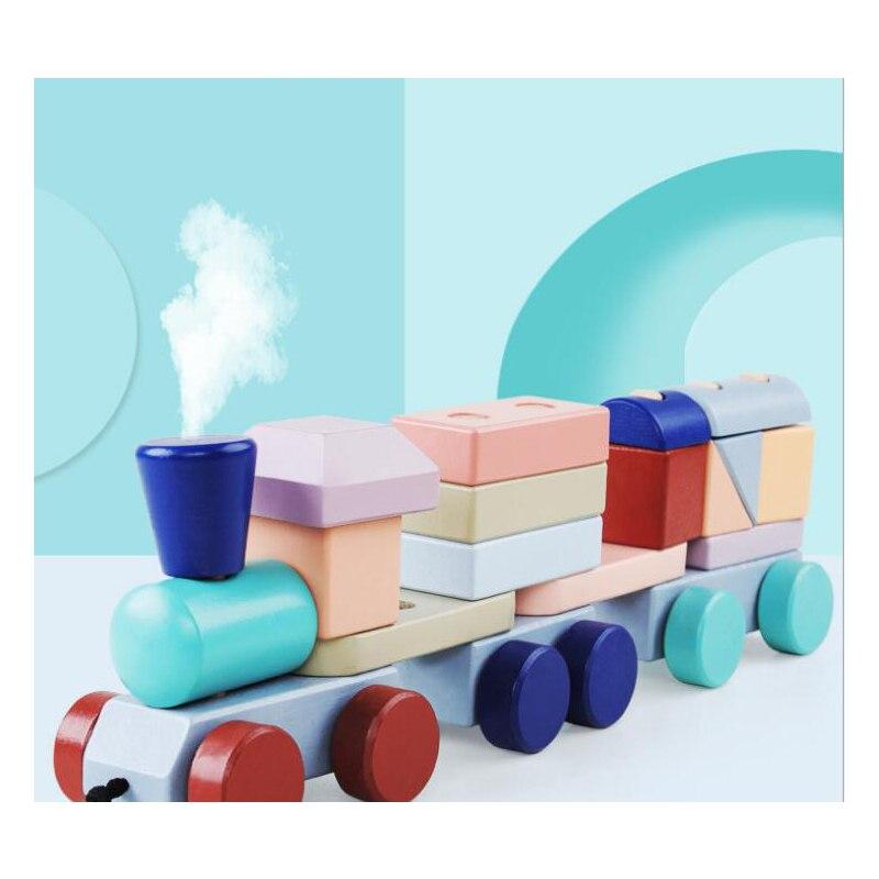 Enfants bébé jouets de développement en bois Train camion ensemble blocs géométriques merveilleux cadeau jouet