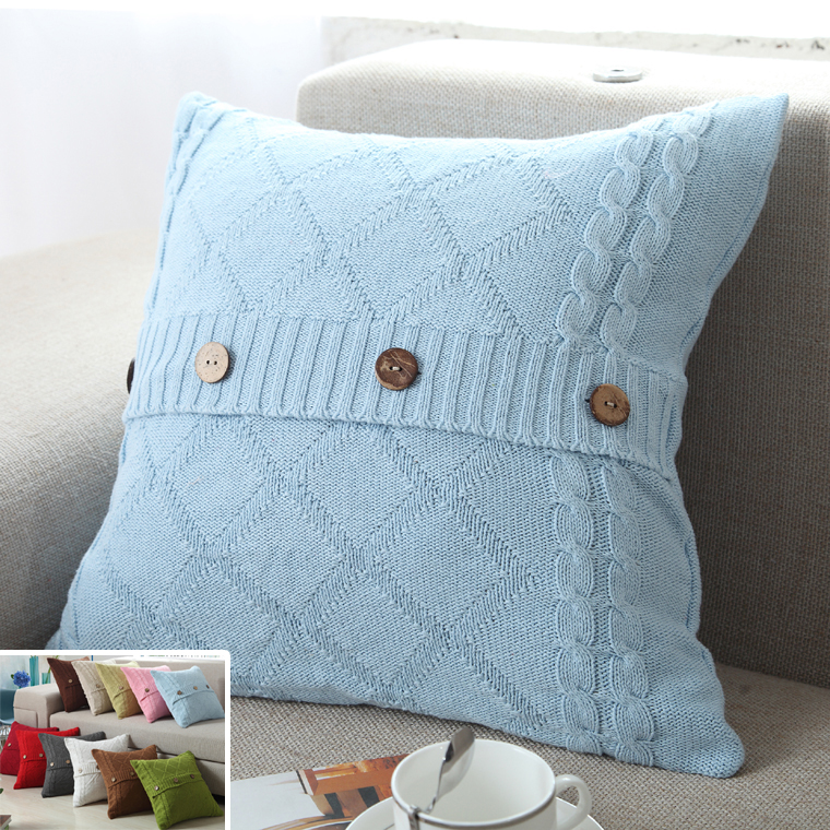 Nordic Vintage Knitted Pillow Cover Button Decorative Cable Knitting