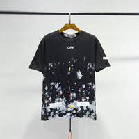 OFF WHITE C/O VIRGIL ABLOH boyfriend gift Fireworks Snowflake Print OW Street Hip Hop Men's Couple Short Sleeve T Shirt