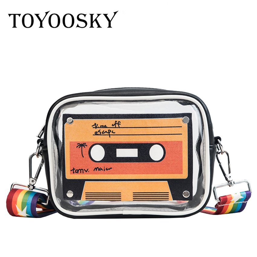 TOYOOSKY Transparent tape print messenger bag women clutch bag casual colorful strap shoulder bag female summer pvc flap bag