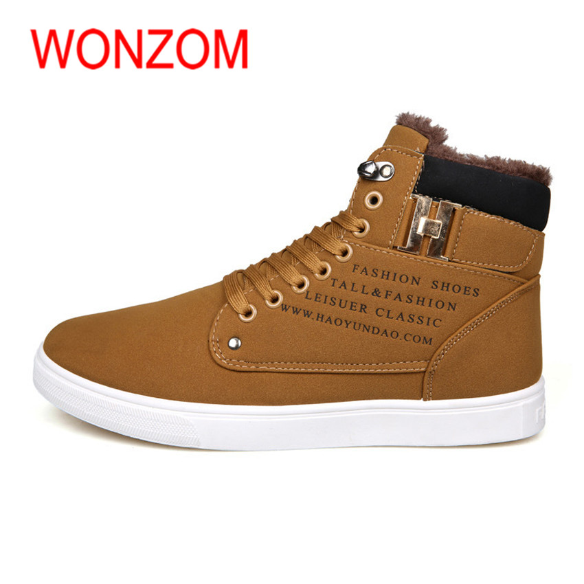 WONZOM Winter Fashion Ankle Snow Boots For Men Rubber Sole Antiskid Men Shoes Plush Lining Comfortable Warm 2017 New Shoes Gift mycolen men boots 2017 winter cow leather snow boots british fashion men shoes men footwear thick bottom rubber ankle boot