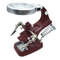 LED Illuminated Desktop Magnifier Helping Hand Auxiliary Clamp Alligator Clip Stand with 10 LED Magnifying Glass Third Hand