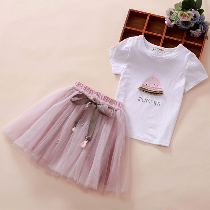 Kids's Clothes Toddler Ladies Units Cartoon Printed Child Woman Tops +Skirt Units For Ladies Youngsters Garments Shirt Tutu Skirt 2pcs Clothes Units, Low cost Clothes Units, Kids's Clothes Toddler...