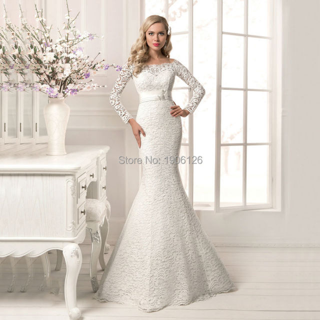 Buy Spring Full Lace Mermaid Long Sleeve Wedding Dresses Cor