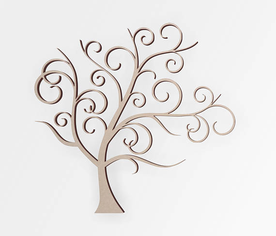 Wooden Shape Tree Flourish Decor for Weddings, Wooden Cut Out, Home Decor, Wall Hanging, Unfinished and Available
