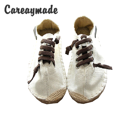 CareaymadeSpring,pure handmade white shoes ,the retro art mori girl Flats shoes, Flax Casual shoes,Korean fashion shoes,3 colors the pure abscess