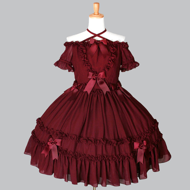 High Quality 2018 Red And Black Slash Neck Bow Gothic Lolita Dress Costumes For Women Customized