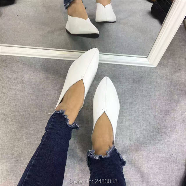 SexeMara New Handmade 100% Genuine Leather Women Shoes Simple style soft Cowhide  Shoes Ladies Flat Shoes Free shipping