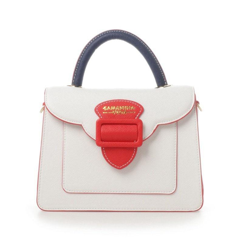 Fashion Samantha Vega Colour Letter Wide Strap Shoulder Bag Female Small Handbag Solid Flap for Women Messenger Bags