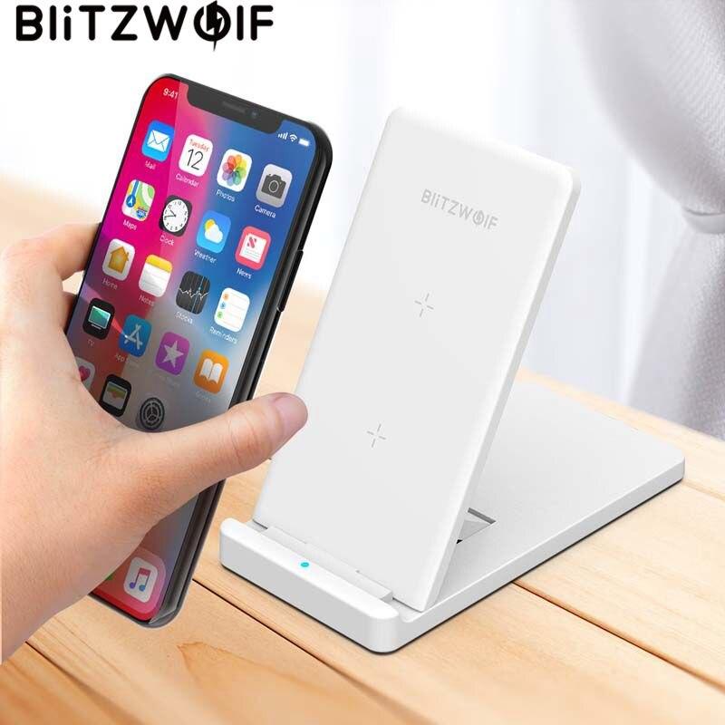 BlitzWolf 10W Qi Cargador Inalámbrico Para iPhone X 8 Galaxy S9 S8 S7 S6 Edge Note 8 Teléfono Almohadilla de Carga Inalámbrica Rápida Estación de Carga