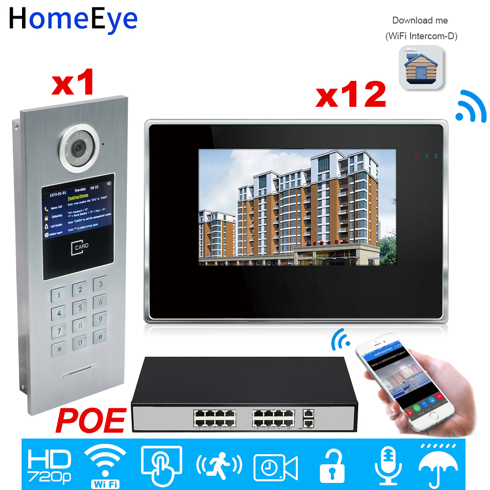 720P WiFi IP Video Intercom Smart Video Door Phone Door Bell Password/RFID Card +POE Switch IOS Android APP Multi-language OSD