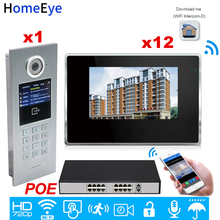 цена на 720P WiFi IP Video Intercom Smart Video Door Phone Door Bell Password/RFID Card +POE Switch iOS Android APP Multi-language OSD