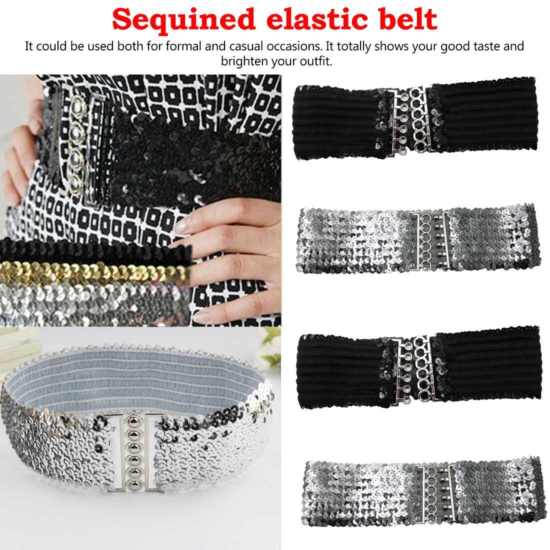 Fashion Vintage Manual Sequins Elastic Belts For Women Dress Accessories Casual Stretch Belt