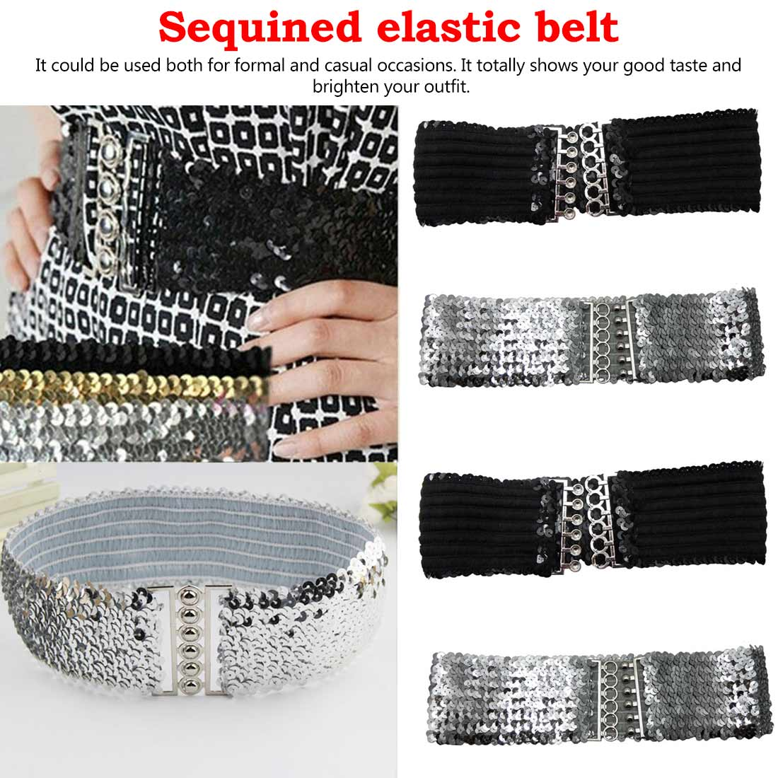 Hot Fashion New Desinger Women Ladies Elastic Sequin Gold Belt Stretch Belly Wide Waistband Wrap Buckle Corset Costume