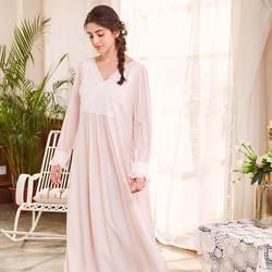 YSMILE Y Мода весна для женщин милые Ночная рубашка Винтаж принцессы стиль повседневное длинные Sleepdress лоскутное кружево кофта с v-вырезом