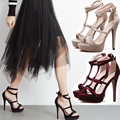 2017 New Women Sandals Female Gladiator Suede High Heels Sandals Ladies Ankle Strap Summer Dress Shoes Woman Open Toe Sandals