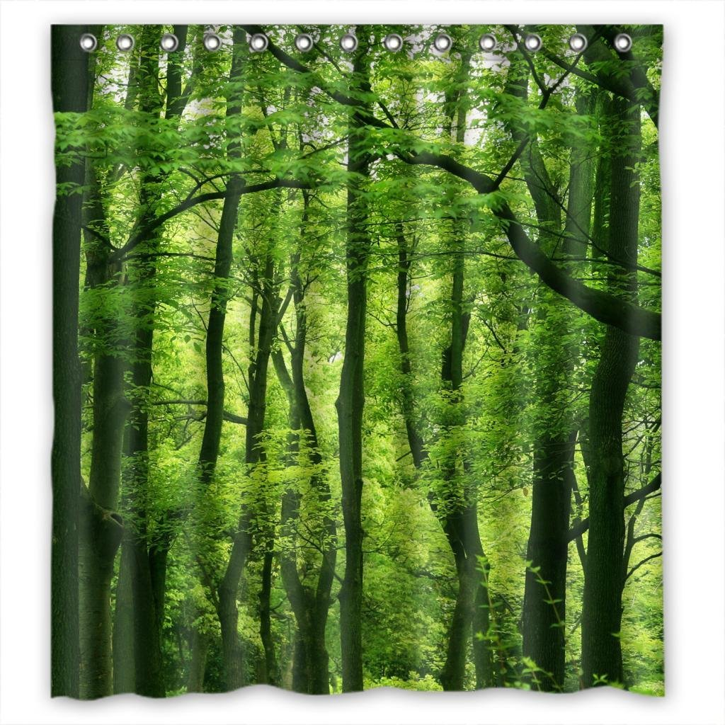 Beautiful Fresh Green Forest Fabric Shower Curtain