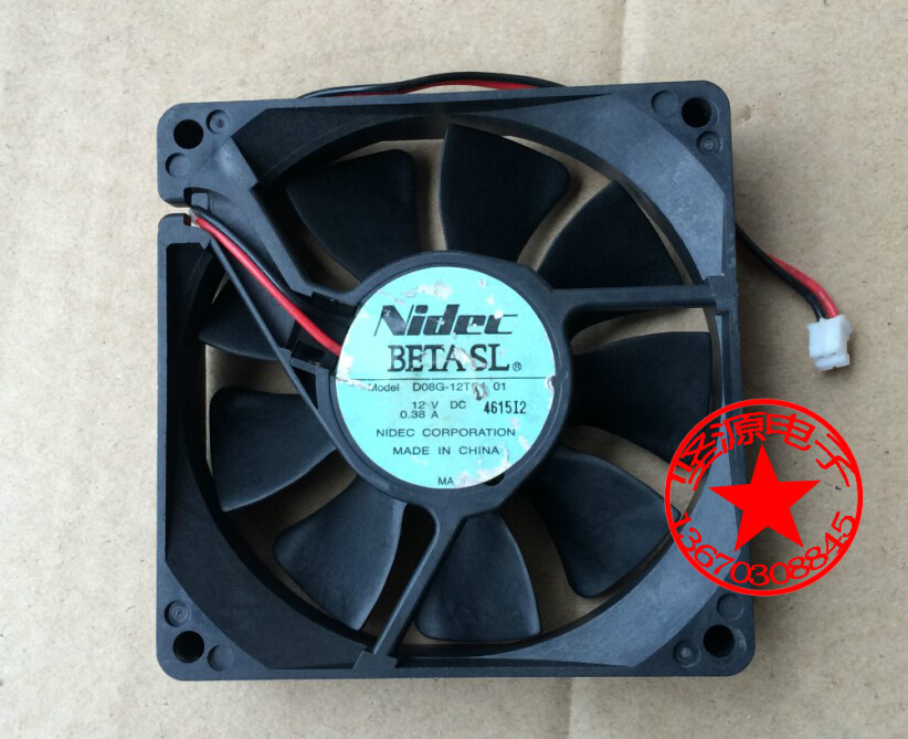 Nidec D08G-12TS4 01 Server Square Fan DC 12V 0.38A 80x80x20mm 2-wire emacro for nonoise a8025h24b server square fan dc 24v 0 095a 80x80x25mm 2 wire