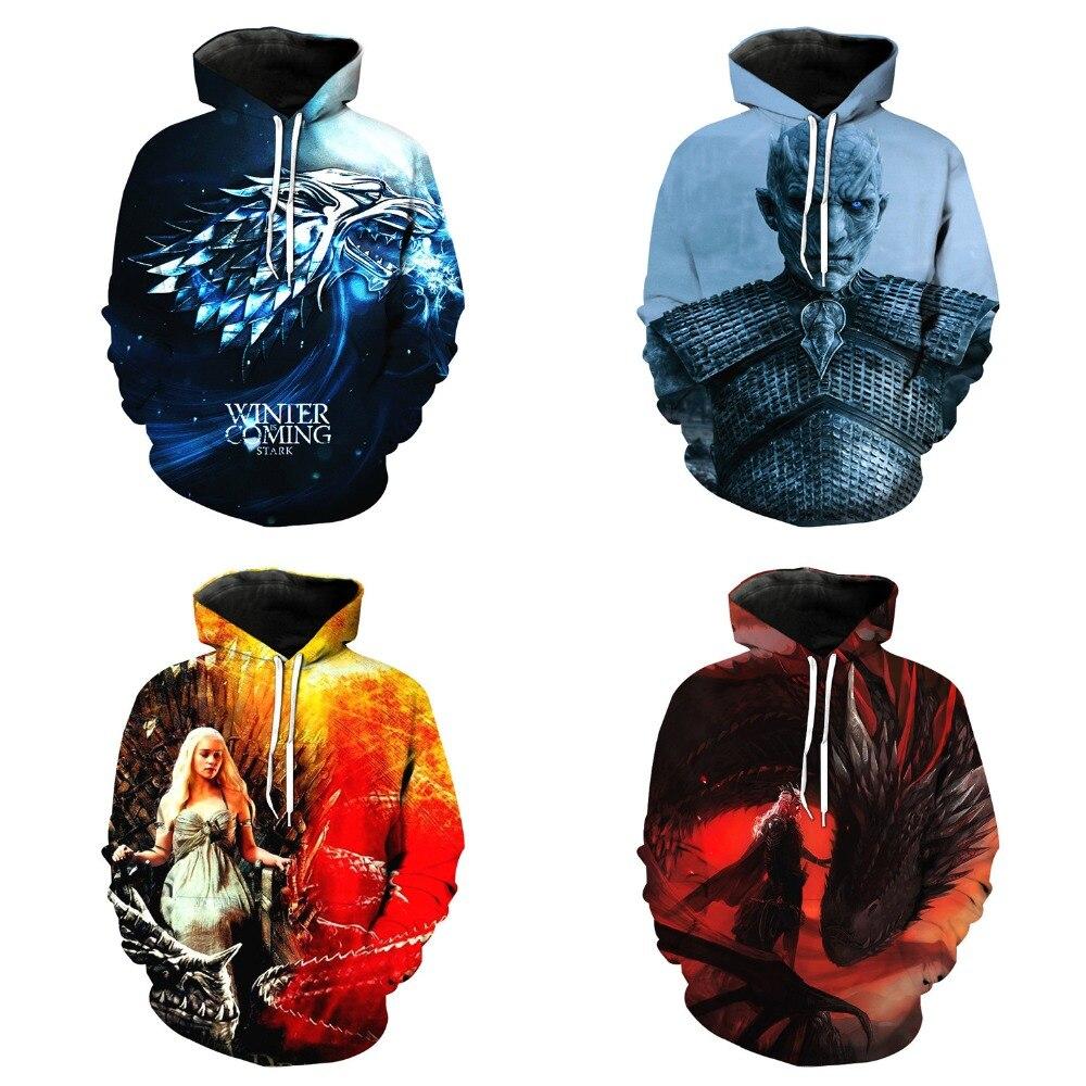 Game of Thrones Daenerys Targaryen hoodies Cosplay Jon Snow Costumes men's and women's Jackets 3D printed hoodies Sweatshirts