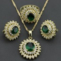 Occident Green Created Emerald White Zircon Gold Plated Flower Jewelry Set For Women Necklace Chain Pendant Earring Ring