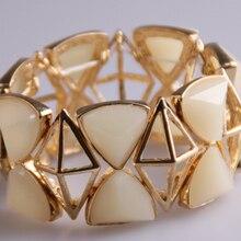 Высокое качество грань ромб акрил конвертировать треугольник золотые браслеты модные ювелирные изделия Женское платье браслет