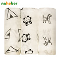3Pcs Pack Naheber Bamboo Muslin Cotton Baby Swaddles Newborn Infant Blankets Panda Horse Soft Bath Towel Hold Wraps