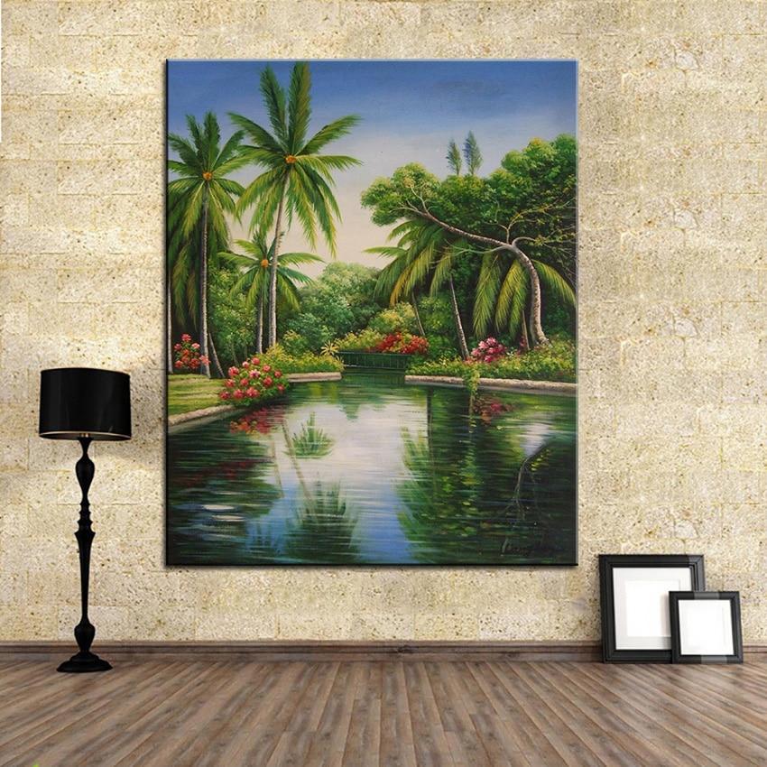 ჱExtra Large Wall pintura de paisaje del lago inicio Oficina ...