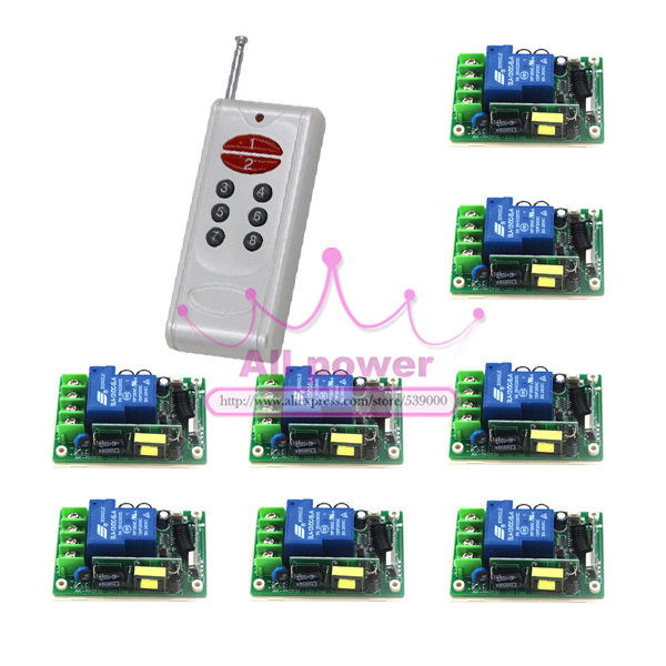 ФОТО 85V-250V Remote Relay Control Switch 8CH Receiver & Transmitter Lamp/Light LED Remote ON OFF Controller System Output Adjust