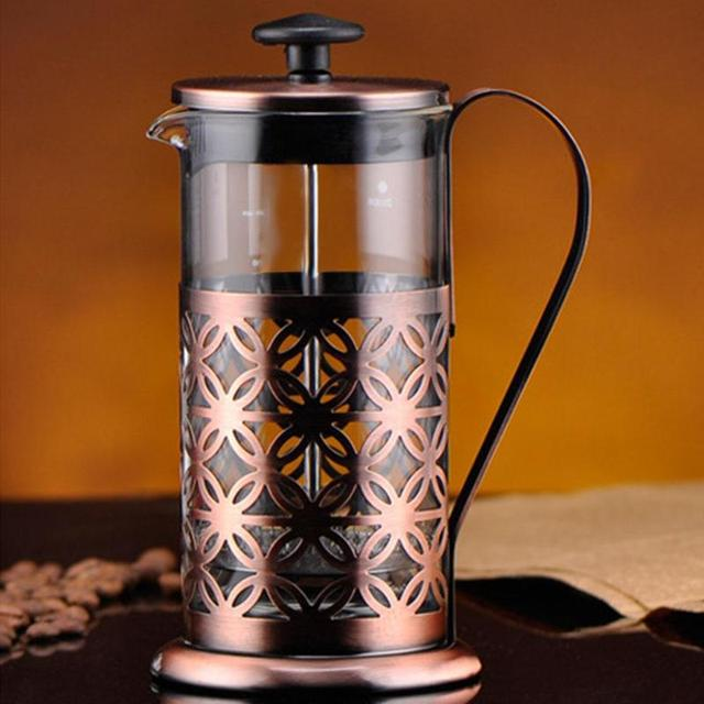 Stainless Steel Vintage Manual Coffee Maker Pot Glass Teapot Filter Press French Coffee Tea Percolator Filter Press Plunger