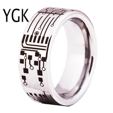 YGK Brand Jewelry Hot Sales 8MM CIRCUIT BOARD His/Her Shiny Silver Pipe Comfort Fit Men's Tungsten Wedding Rings