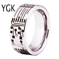 Free Shipping USA UK Canada Russia Brazil Hot Sales 8MM CIRCUIT BOARD His Her Shiny Silver