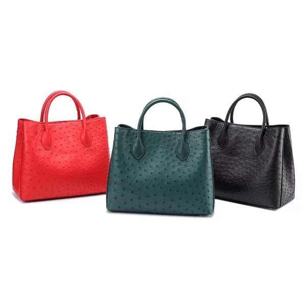 e4ddc85da83c ... Роскошные дизайнерские натуральной кожи страуса кожа молния закрытия  темно-зеленый Для женщин сумки женская сумка