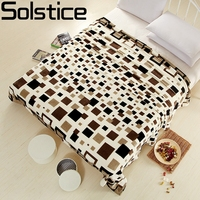 Home Textiles Fashion Lattice Style Coral Fleece Blankets King Queen Full Twin Size The Throws Can