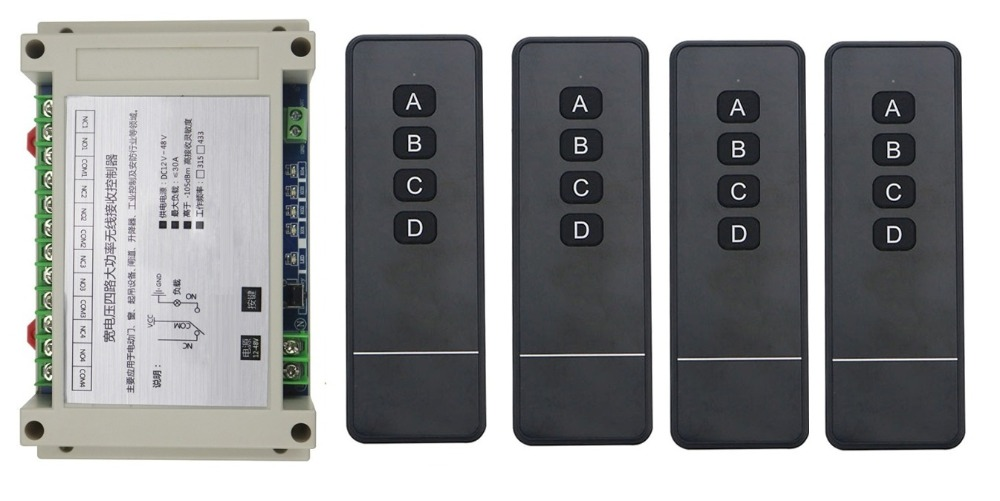 4 * transmitter 12V 24V 36V 48V 4CH 30A long distance RF Wireless Remote Control Switch  Learning Code Momentary Toggle Latched dc3 5v rolling code receiver module transmitter rf wireless remote control 4ch output ttl momentary toggle latched hc301 ic