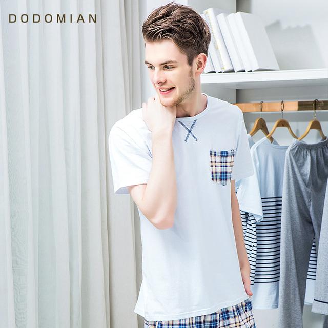 2017 Chándal Hombres Plaid Algodón Homewear Trajes Flojos Ocasionales Casa 2 pieza Pijama Establece Corta camiseta + Short Plus Size L XL XXL